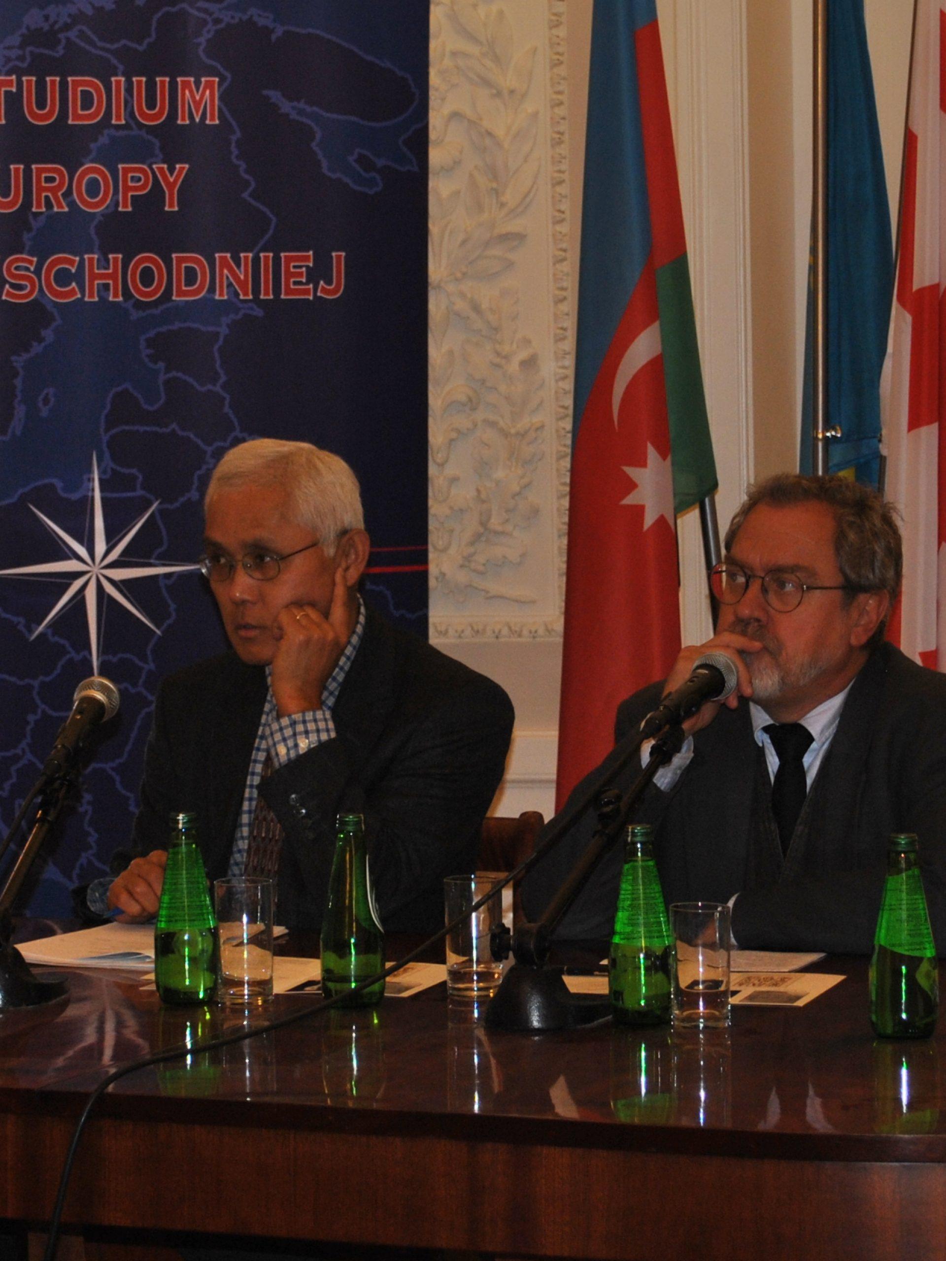 Konferencja prometejska 2014 r. Od lewej: prof. M. Kornat, prof. H. Kuromiya, prof. L. Zasztowt, dr P. Libera.